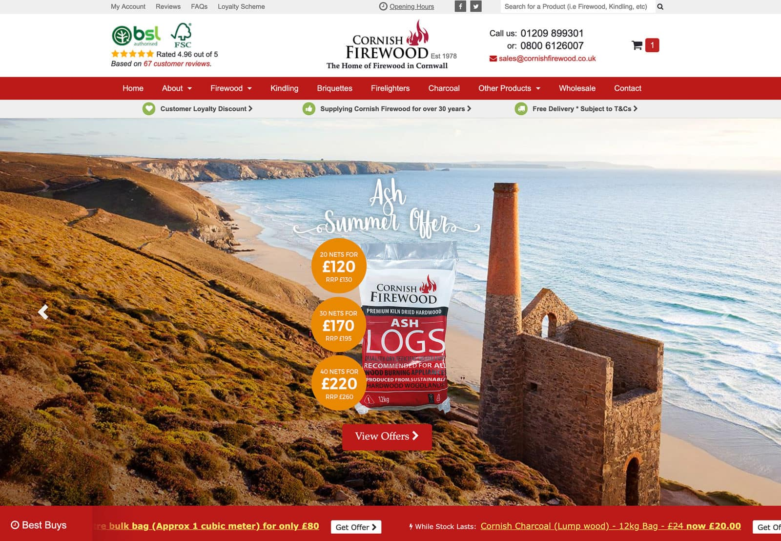 Website Design using existing branding for Cornish Firewood in Redruth