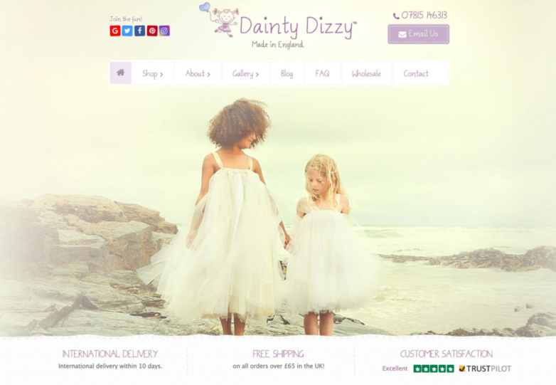 Website Design using existing branding for Dainty Dizzy