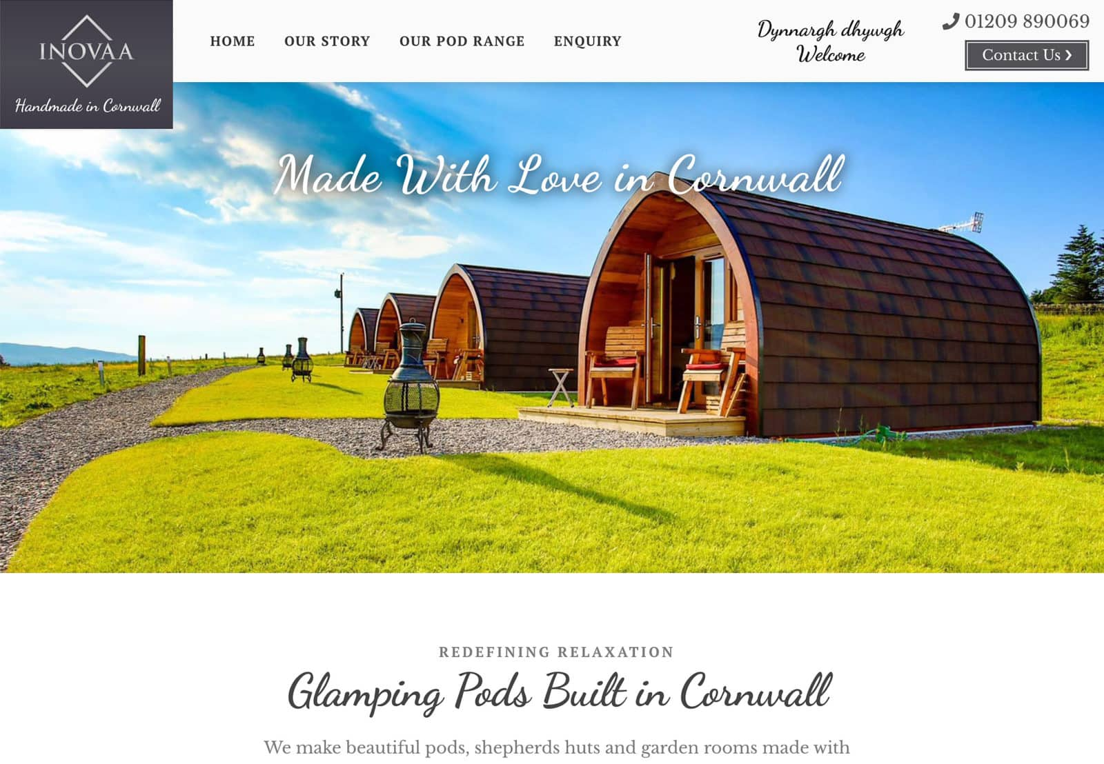 Website Design for Inovaa Glamping Pods