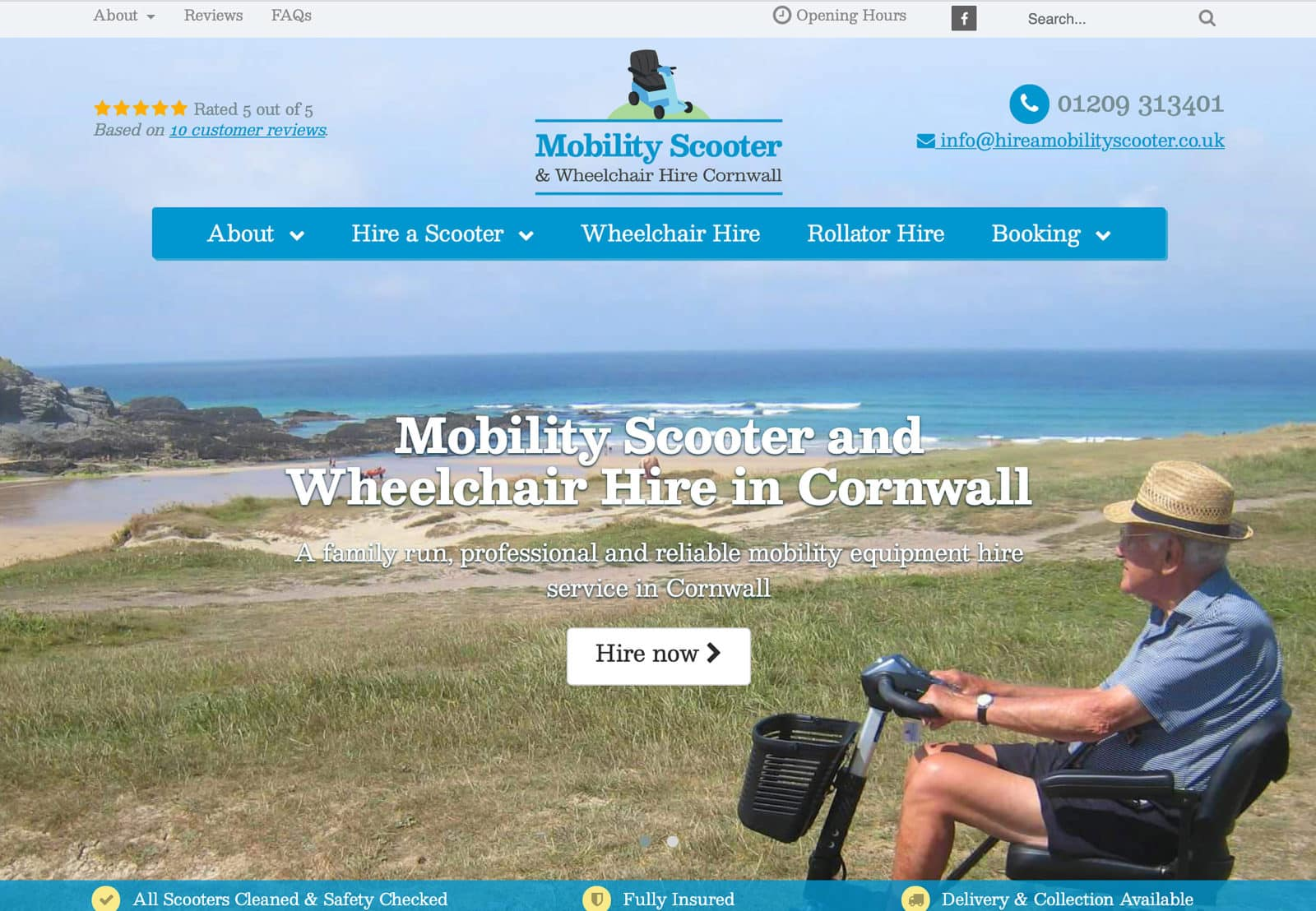 Logo and Website Design for Mobilty Scooter Hire Cornwall