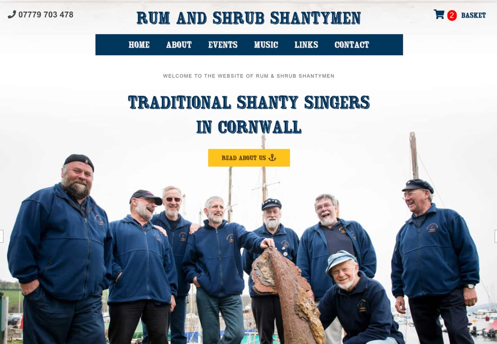 Website Design for Rum & Shrub Shantymen - the finest shanty singers in Cornwall!